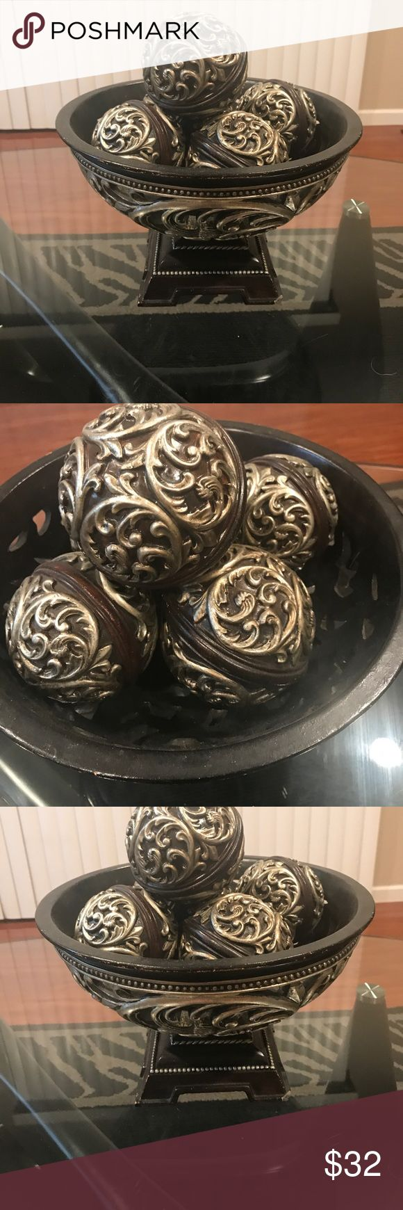 """Decor bowl and 5 balls Rustic brown and silver ceramic 6"""" tall 8"""" round small nick in corner not noticeable Other"""