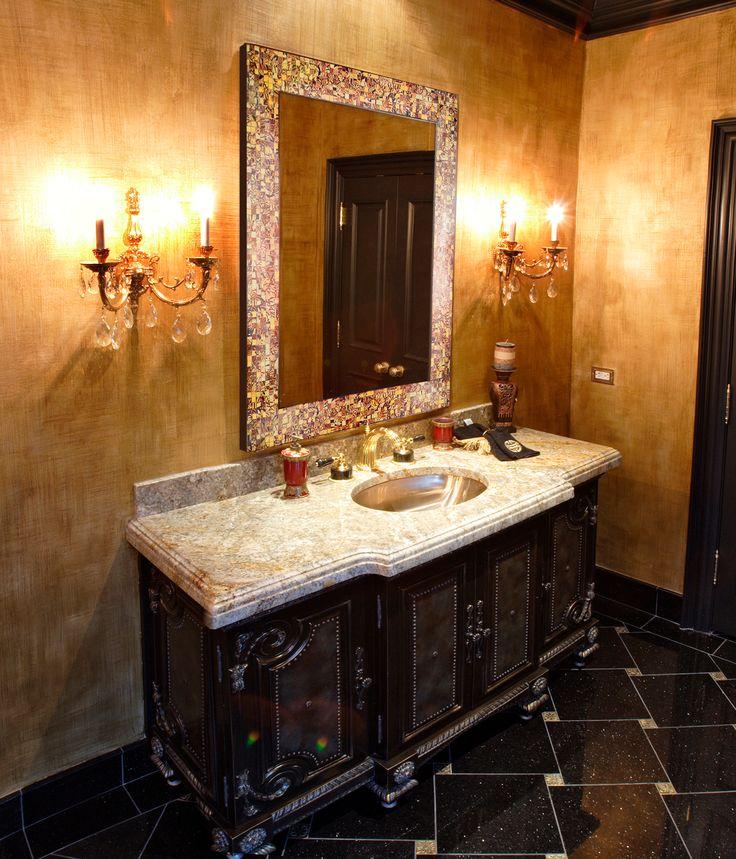 Mejores 823 imgenes de wall sconces bathroom vanity en pinterest love the earthy hues of the frame the dimension of black granite marble floor tile ornate vanity and the glam wall sconces aloadofball Choice Image