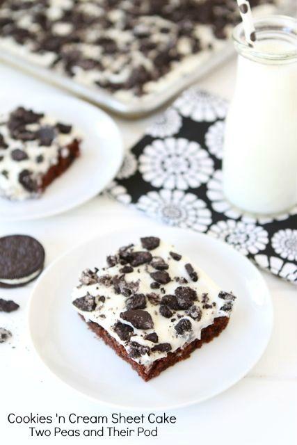 Cookies 'n Cream Sheet Cake Recipe on twopeasandtheirpod.com. Love this cake! #cake #chocolate