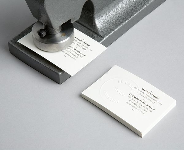 blind embossed business card for el camino designed by tsto