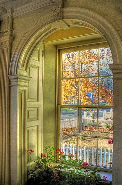 Gorgeous window with idyllic village street view