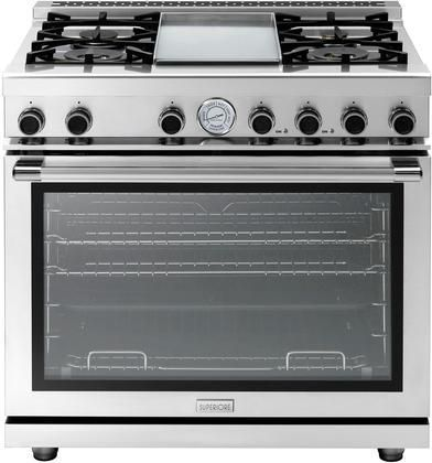 """RN362GPSS 36"""" NEXT Series Freestanding Natural Gas Range with Panorama Oven Door 4 Sealed Burners Convection Oven and Electric Griddle in Stainless Steel"""