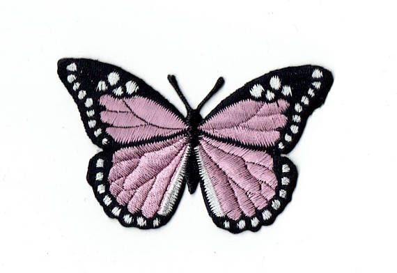 Large  Butterfly  Pink/Black  Iron on Applique