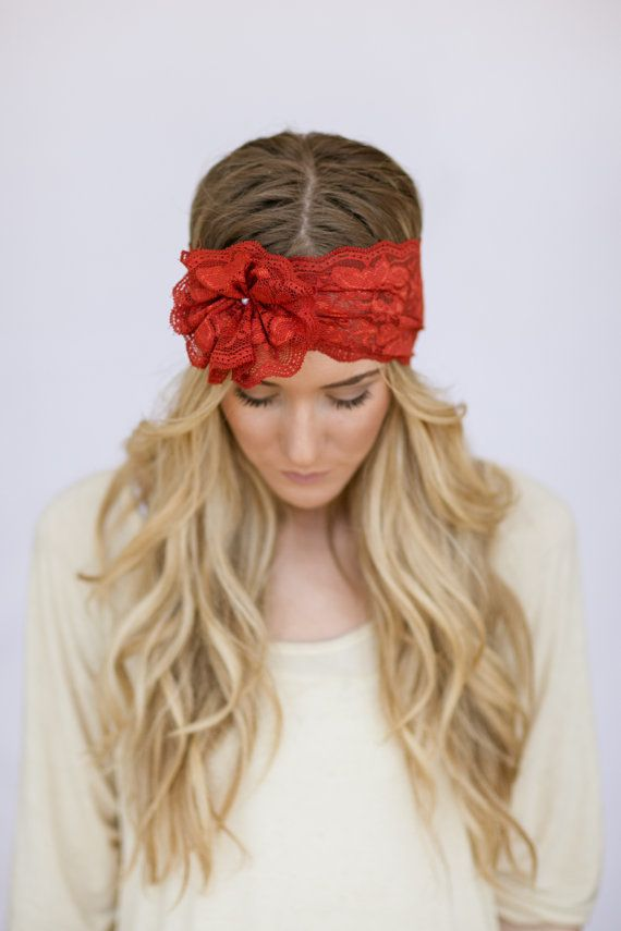 Lace Headbands with Flower Hair Bands for Wedding Pearl Button WIDE Hair Bands Boho Stretchy Flower BURNT ORANGE Headbands Mrs. I Do