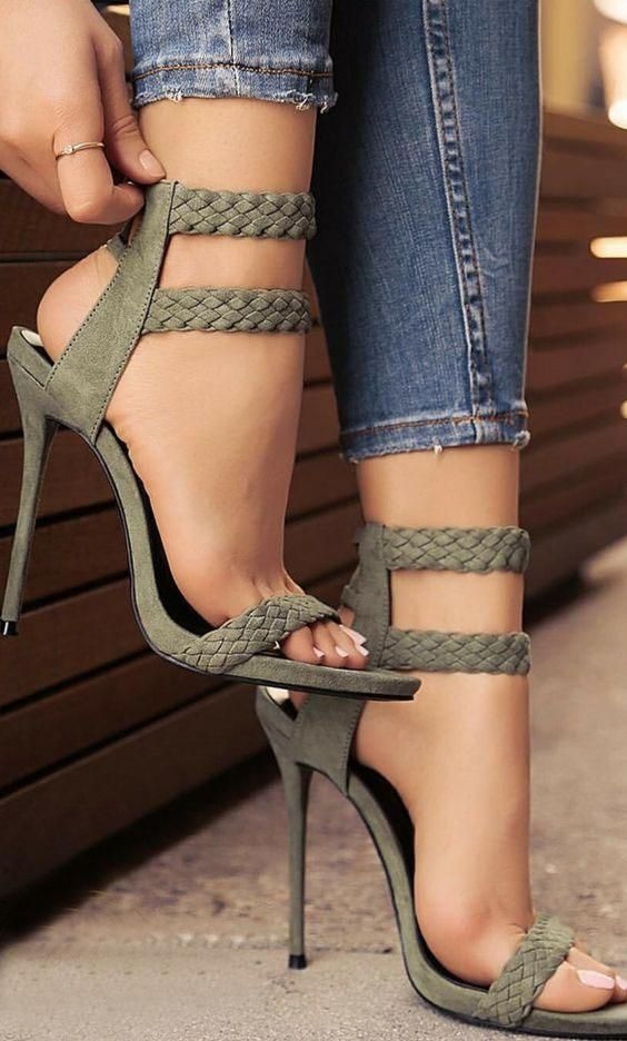 ea43b6fb15b 2017 Fashion Stiletto Heel Sandal Army Green Cross Weaving Sandals Wedding  Party Dress Shoes Women Wholesale Drop Shipping