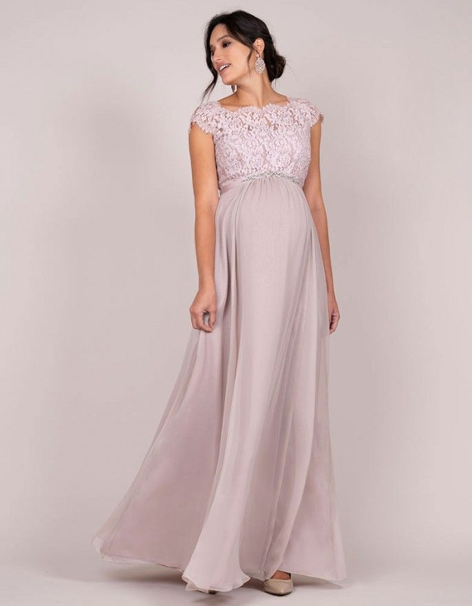 venta en línea seleccione para el último reputación primero Vestido premamá largo con seda y encaje - Rosa claro ...
