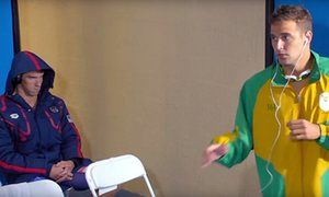 "Michael Phelps' ""death stare' during Chad LeClos' pre-race routine at the Rio 2016 swimming"