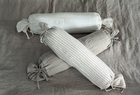LINEN BOLSTER COVER: Pure Linen Natural Off White by LinumStudio