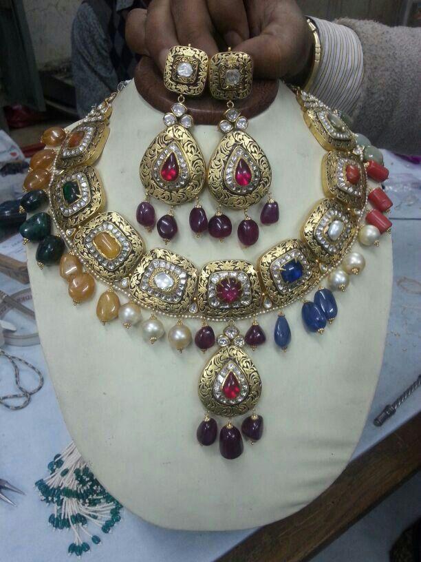 Big navratan necklace