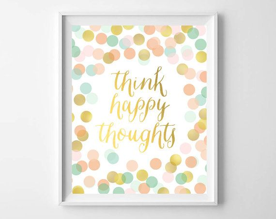 Girl Nursery Art-Think Happy Thoughts Gold Mint by paperandpalette
