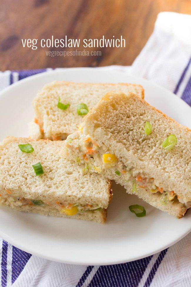 Veg coleslaw sandwich recipe with step by step photos - quick to prepare sandwiches with veg coleslaw.  #sandwich #coleslaw
