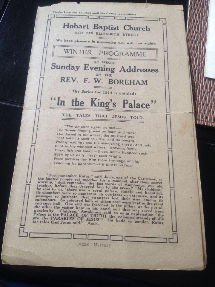F.W. Boreham 1914 winter syllabus a part of my Boreham collection.