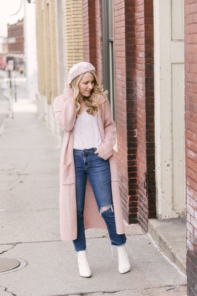 f3928d299045 How to Wear a Pink Beret | Pink Sweater Duster | Pearls & Twirls Life &  Style Blog
