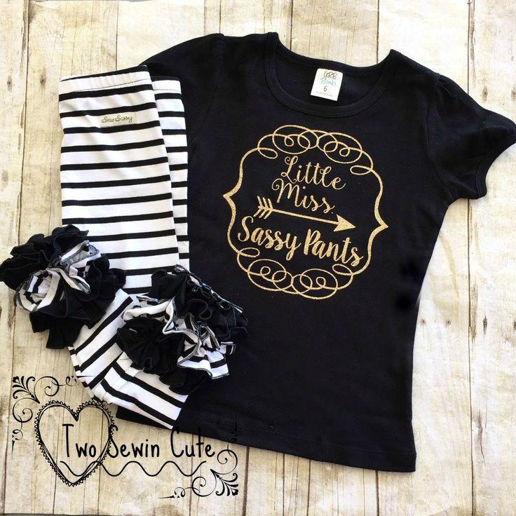 Little Miss Sassy Pants Shirt, M2M Sew Sassy NO, Sassy Pants Shirt, Made To Order, Girls Custom Clothing, Gold Glitter Vinyl Shirt by TwoSewinCute on Etsy