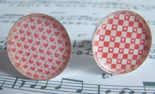 50% off Love heart pattern ring Resin ring Picture ring by Poppyg