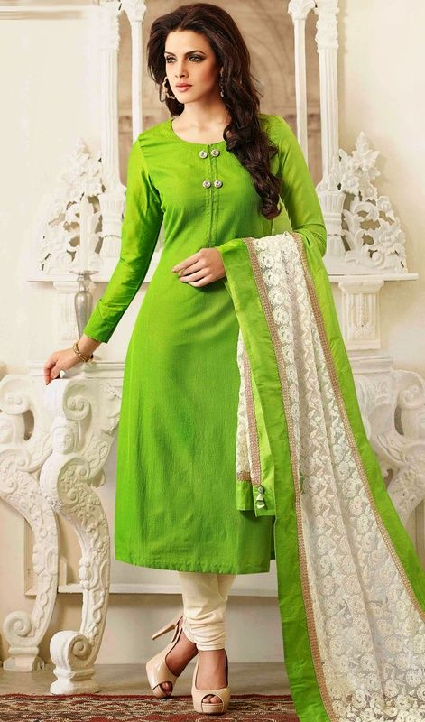 Lime Green Chanderi Silk Churidar Suit Make understated elegance your signature style as you don this lime green chanderi silk churidar suit. The stunning lace and resham work a intensive feature of this dress.  #LatestLongChuridarSuits #LongAnarkaliSuits