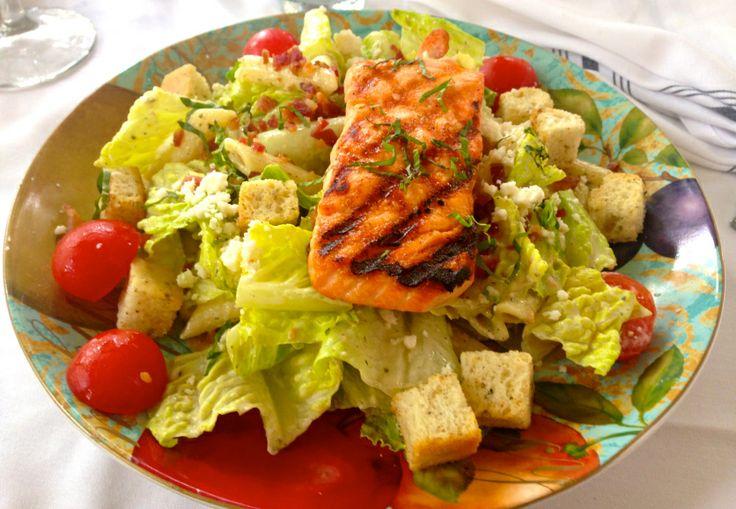 Skinny Caesar Salad Recipe! With Blackened Salmon and light caesar ...