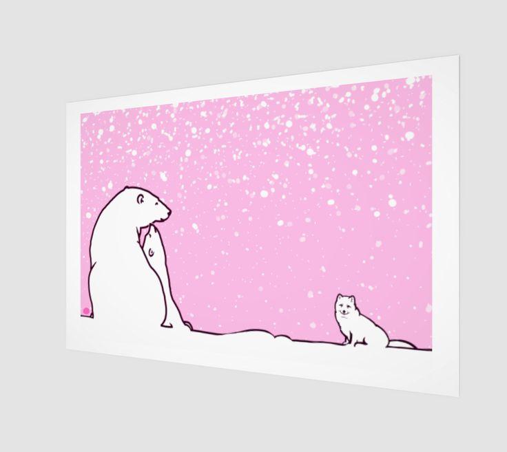 polar bear family and arctic fox preview