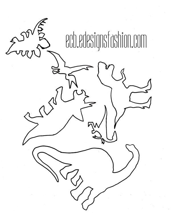 Stenciled Dinosaur Fabric (free stencil template)   Especially Creative Broad