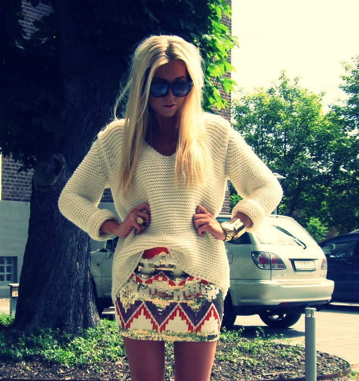 chunky sweater & sequin skirt