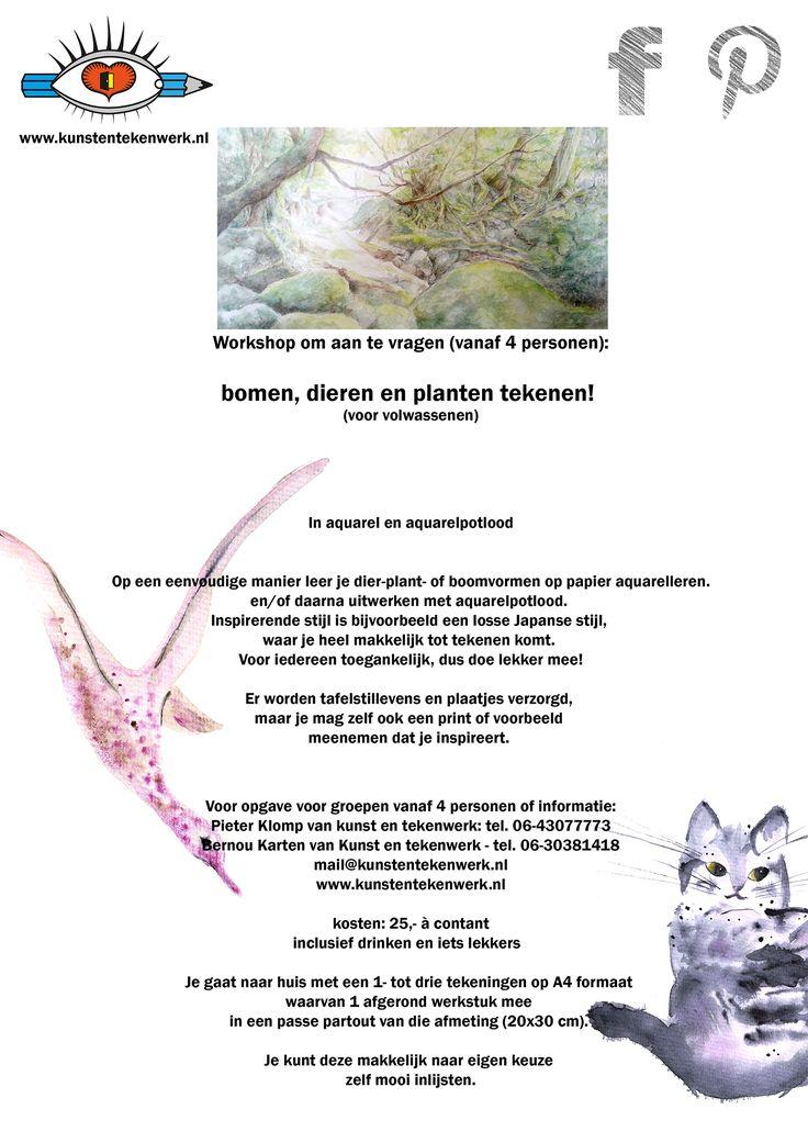 bomen, dieren en planten tekenen en aquarelleren!...Om aan te vragen