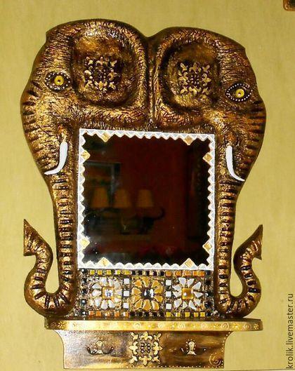 """Зеркала ручной работы. Ярмарка Мастеров - ручная работа. Купить Зеркало с полочкой """"Золотые слоники"""".. Handmade. Зеркало, зеркало для интерьера"""