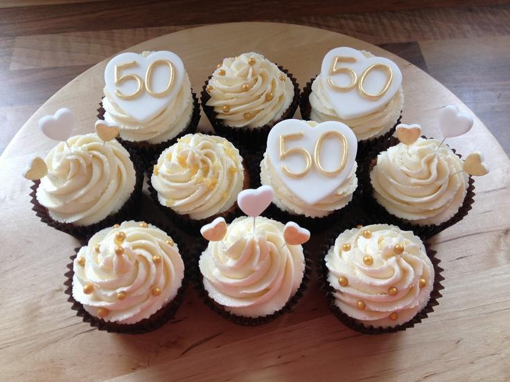 50th Golden Wedding Anniversary Cupcakes Golden