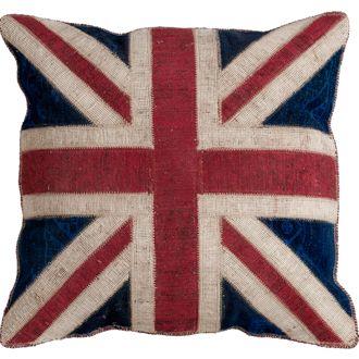 Recoloured vintage kussen Engelse vlag