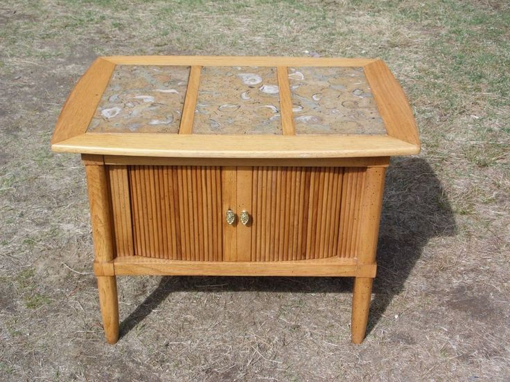 Vintage Mid Century Modern Marble Top End Table Tambour Door Cabinet Night  Stand