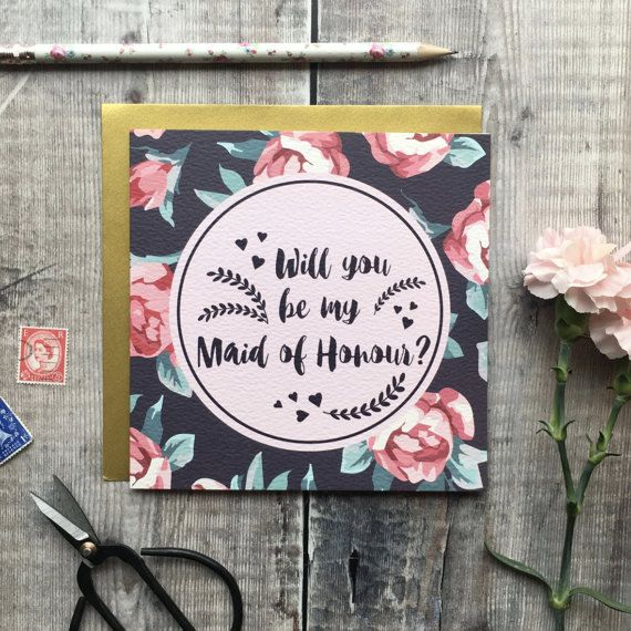 Will You Be My Maid Of Honour Card  Luxury Wedding Cards