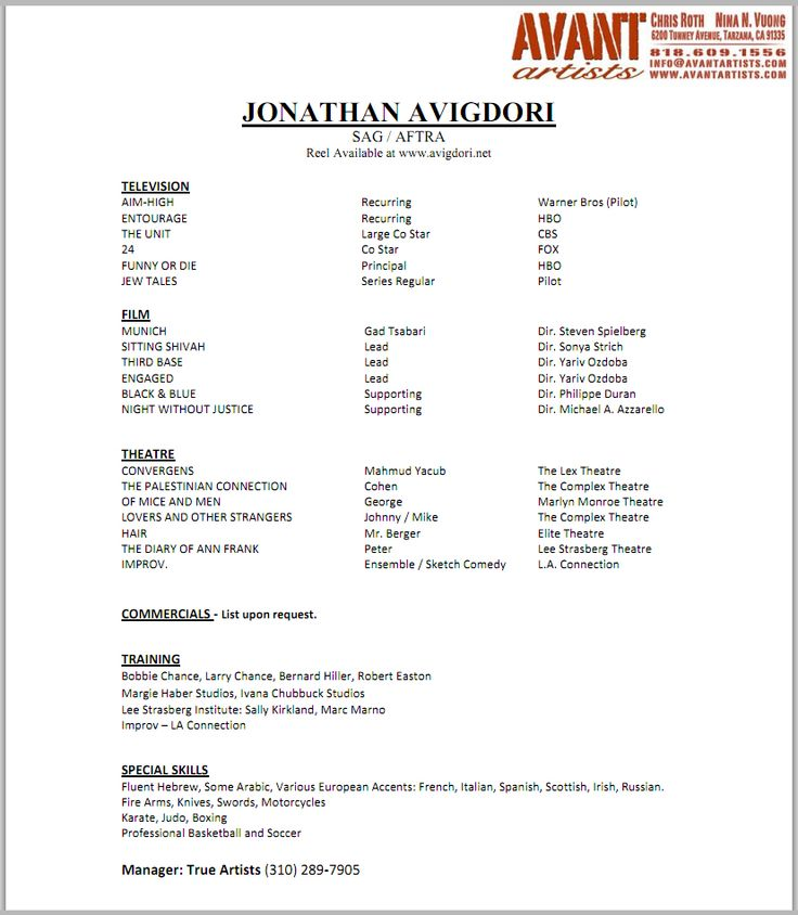 7 best Child Actor Résumé images on Pinterest Acting resume - talent agent sample resume