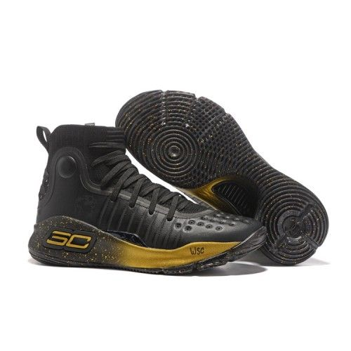 Curry Shoes - 2017 New Under Armour UA Curry 4 Basketball Shoes Black Gold