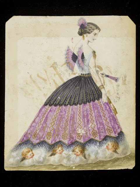 Design for a fancy-dress costume: Fan (ca. 1860s, House of Worth) | In the Swan's Shadow