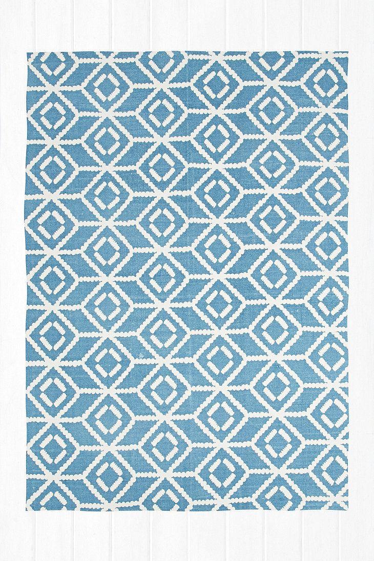 Teppich Mit Gespiegeltem Gepunktetem Design In Blau 5 X 7 Fuss