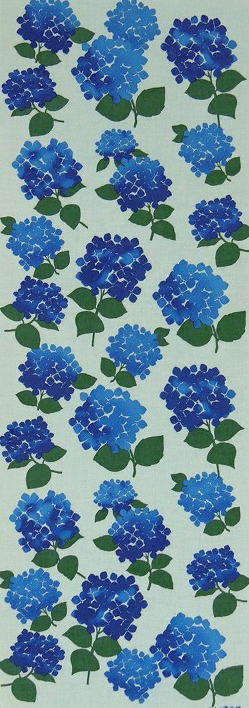 Japanese Tenugui Cotton Towel Fabric, Blue Hydrangea, Hand Dyed Fabric, Floral Design, Wall Art Hanging, Gift Wrapping, Scarf, h030