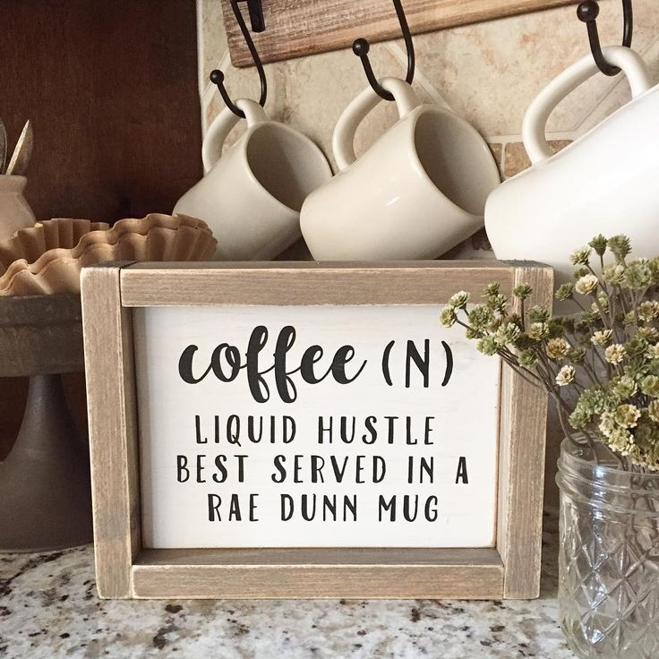 Absolutely adore my new sign from Nicole @rusticlittleroost! Coffee + Rae Dunn…                                                                                                                                                                                 More