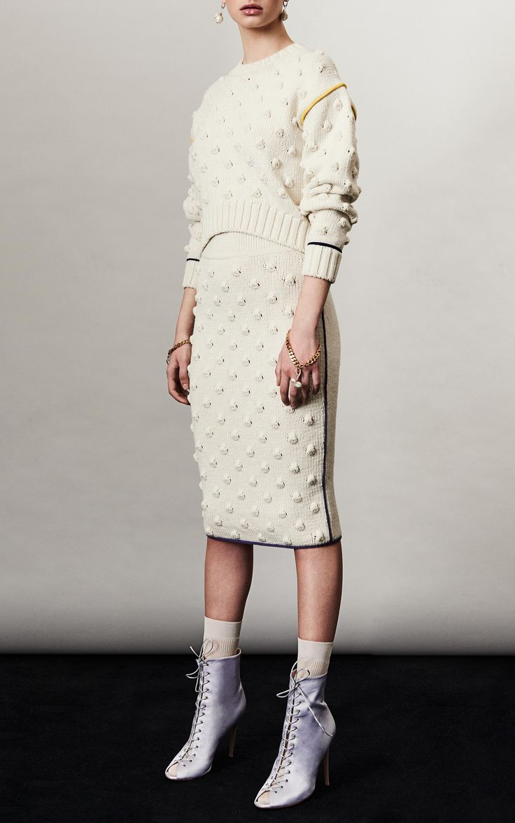 Long Sleeve Popcorn Knit Sweater by FRANCESCO SCOGNAMIGLIO for Preorder on Moda Operandi