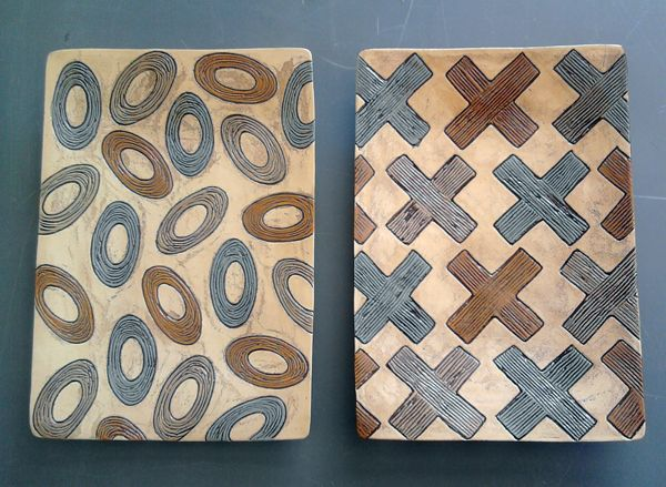 Platters rectangular abstract designs