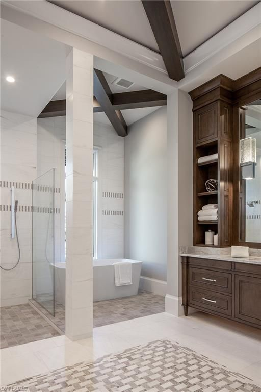 306 Neapolitan Way Naples Fl 34103 Gorgeous Tile Work And Ceiling Beams In The Master Bathroom Park S