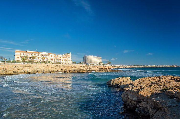 A view of La Zenia hotel and coastline towards Torrevieja.