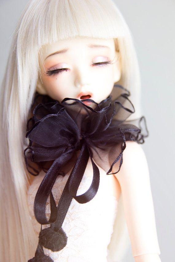 Black Ruffles Collar for MSD bjd dolls Unoa by sugardollshop, $18.00