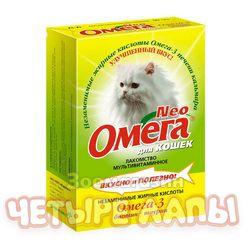 Лакомство для кошек Омега мультивитамины биотин/таурин, уп. 90 таб.