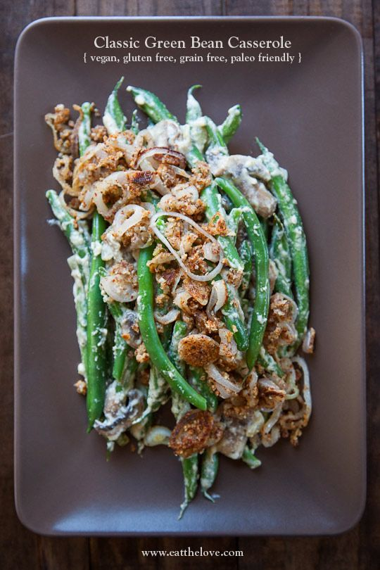 Vegan Green Bean Casserole, Gluten Free, Grain Free and Paleo Friendly as well! Photo and recipe by Irvin Lin of Eat the Love.