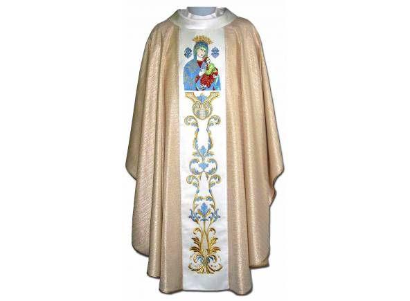 Casulla mariana estolón central bordado Virgen Perpetuo Socorro / Marian Chasuble of Our Lady of Perpetual Help http://www.articulosreligiososbrabander.es/casulla-con-galon-central-bordado-virgen-del-perpetuo-socorro.html