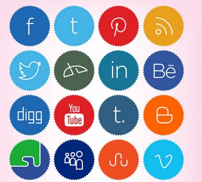 This free pack of social icons have a colorful and cute design.They are shaped round with jagged edges and a thin font.Included are 256x256 pixel PNG icons for Facebook, Twitter, Pinterest, Deviant Art, Behance, Tumblr, Blogger, MySpace, Vimeo, Google+, Dribble and more.