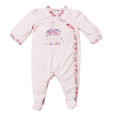 Bebe Penny XW14-927 Blush Marl Penny Wrap Romper w Print Binding – Sweet Thing Baby & Childrens Wear #Winter #Cloth #Girl sweetthing.com.au