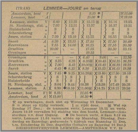 Overzicht vertrektijden tramlijn tussen Joure en Lemmer
