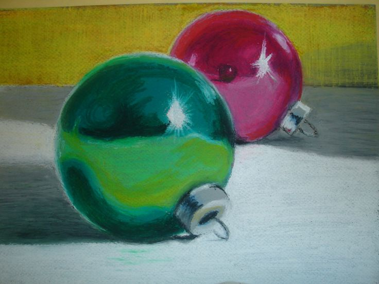 Christmas ornaments - oil pastels observational drawing