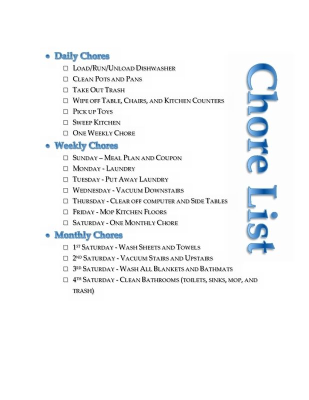 FREE printable daily, weekly, and monthly household chore list. The printable is an editable template for you to create a household chore list to suit you.