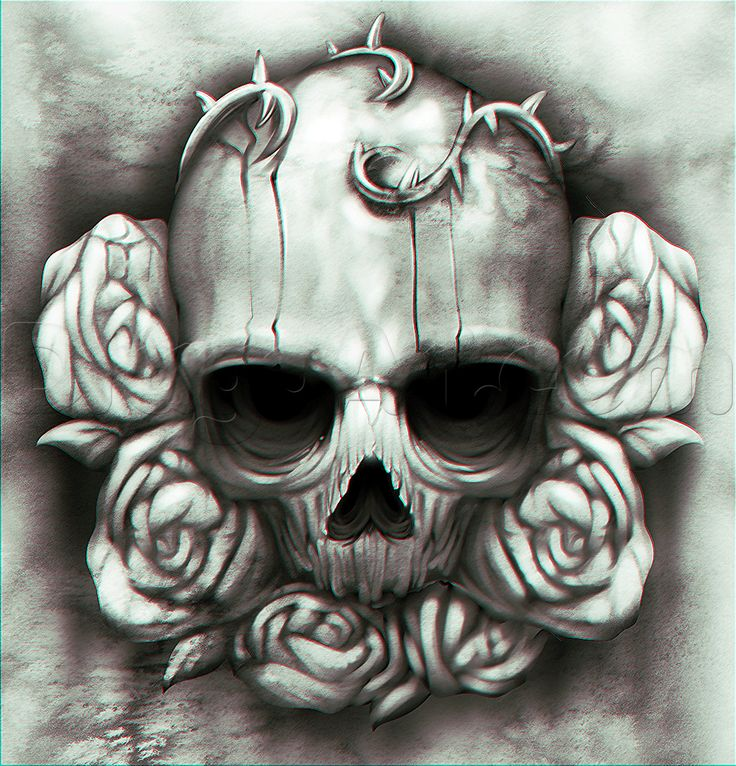 how to draw a skull and roses tattoo
